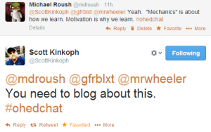 Scott Kinkopf asked me to write more about a comment I made.