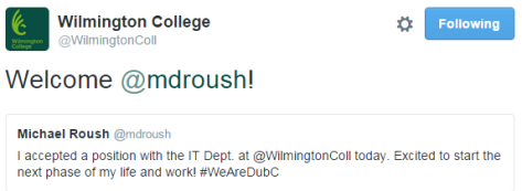 "Tweet from WC, ""Welcome @mdroush""."