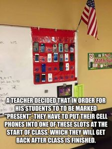 Classroom wall hanging, for student cell phones.
