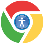 Chrome logo with accessibility symbol