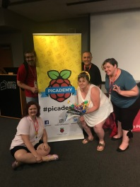 My Picademy project group, with our book-holder-page-turner!