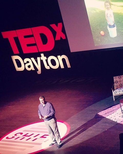 Michael, speaking about his daughter, Amelia, on the TEDx Dayton stage.